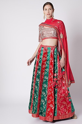 Rose Red & Emerald Green Lehenga Set by Nikasha