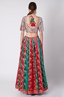 Rose Red & Emerald Green Lehenga Set by Nikasha
