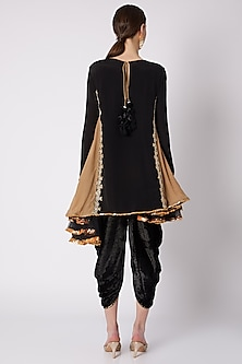 Black & Beige Asymmetric Tunic With Dhoti by Nikasha