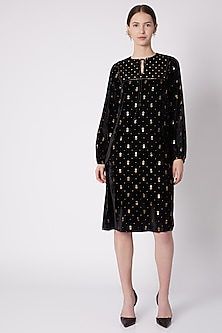 Black & Gold Printed Dress by Nikasha