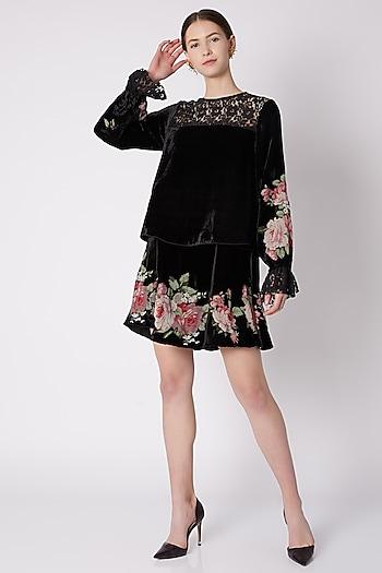Black Embroidered & Printed Dress by Nikasha