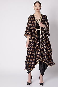 Black & Gold Printed Shrug by Nikasha