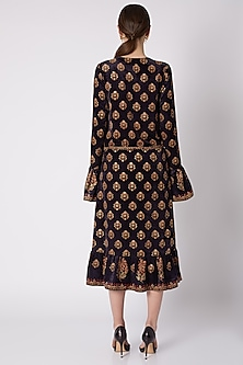 Black & Gold Printed Dress by Nikasha