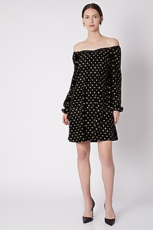 Black & Gold Polka Dot Printed Dress by Nikasha