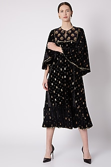 Black & Gold Printed Embroidered Dress by Nikasha