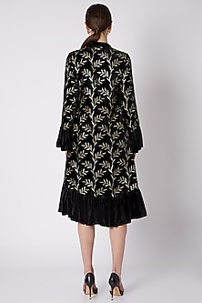 Black & Gold Printed Dress With Flared Sleeves by Nikasha