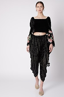 Black Applique Embroidered Top by Nikasha