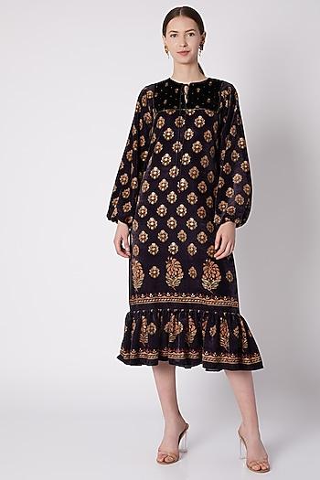 Black & Gold Floral Printed Dress by Nikasha