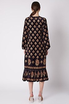 Black & Gold Floral Printed Dress by Nikasha