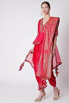 Red Rose Embroidered Dhoti Set by Nikasha