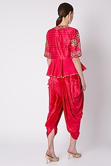 Red Rose Embroidered Dhoti Set by Nikasha