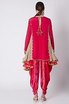 Mauve Asymmetric Embroidered Tunic & Dhoti by Nikasha