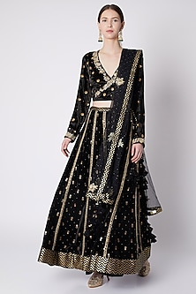 Black Printed & Embroidered Lehenga Set by Nikasha
