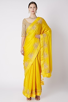 Yellow Embroidered Saree Set by Nikasha