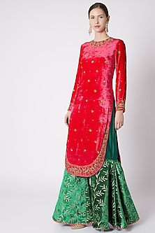 Red & Emerald Green Embroidered Sharara Set by Nikasha