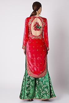 Red & Emerald Green Embroidered Sharara Set by Nikasha