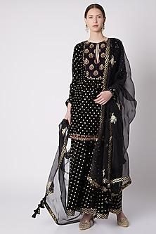 Black Printed & Embroidered Sharara Set by Nikasha