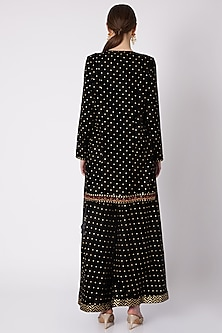 Black Printed & Embroidered Sharara Set by Nikasha