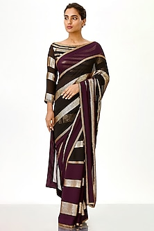 Aubergine & Black Embroidered Saree Set by Nakul Sen