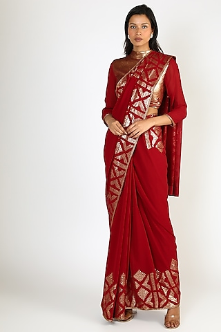 Red Ikat Sequins Embroidered Saree Set by Nakul Sen