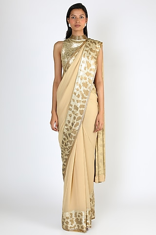 Beige Embroidered Saree Set by Nakul Sen