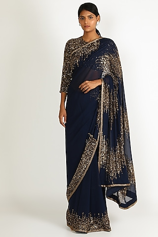 Navy Blue Sequins Embroidered Lehenga Set by Nakul Sen