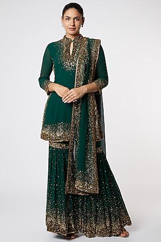 Emerald Green Embroidered Sharara Set by Nakul Sen