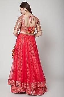 Rose Pink Embroidered Lehenga Set by Nikasha