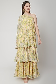 Yellow One Shoulder Printed & Embroidered Dress by Nikasha
