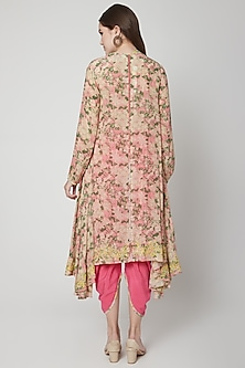 Old Rose Pink & Yellow Floral Printed Tunic With Pants by Nikasha