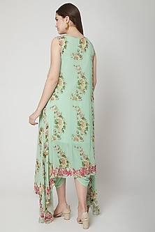 Pista Green Printed & Embroidered Tunic With Pants by Nikasha