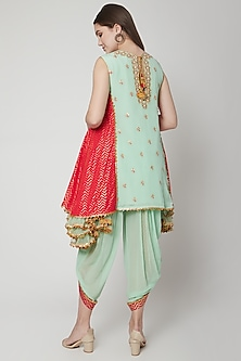 Pista Green Embroidered Dhoti Set by Nikasha