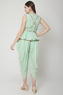Pista Green Embroidered Dhoti Set With Scarf by Nikasha