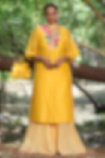 Pitambari Yellow Leheriya Sharara Set by Nikasha