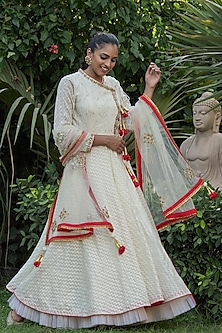 Ivory Handwoven Anarkali Set by Nikasha