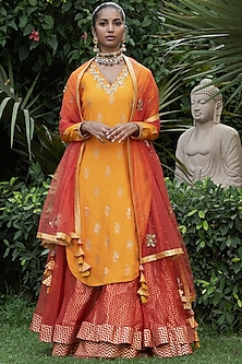 Orange & Red Printed Lehenga Set by Nikasha