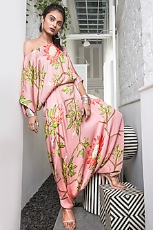 Old Rose Pink Floral Printed Romper by Nupur Kanoi