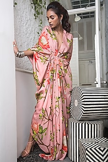 Old Rose Pink Printed Dress With Gathers by Nupur Kanoi