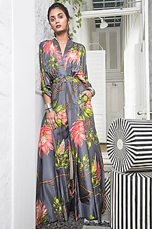Grey Pleated Jumpsuit With Floral Print by Nupur Kanoi