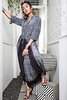 Grey Printed Dhoti Jumpsuit by Nupur Kanoi