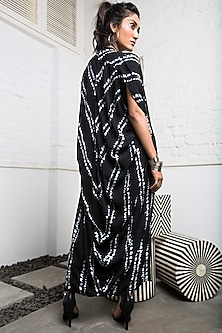 Black Tie-Dye Dress With Cowl Jacket by Nupur Kanoi