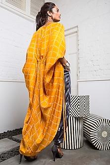 Mustard & Grey Bandhani Jacket Set by Nupur Kanoi