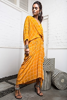 Yellow Wrap Dress With Tie-Up by Nupur Kanoi