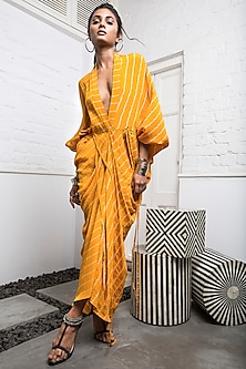 Yellow Striped Dress With Drawstring by Nupur Kanoi