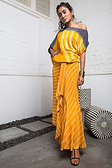 Yellow A-Line Bandhini Skirt With Top by Nupur Kanoi