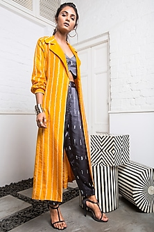 Yellow Striped Jacket With Grey Blouse & Pants by Nupur Kanoi