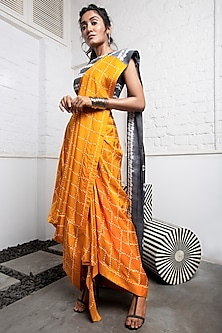 Mustard & Grey Bandhani Saree Set by Nupur Kanoi-SHOP BY STYLE