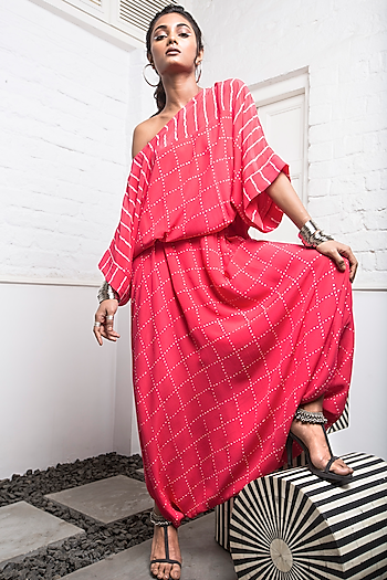 Coral Bandhani Romper With Tie-Up by Nupur Kanoi