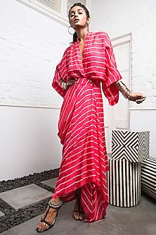 Coral Kimono Wrap Dress With Stripes by Nupur Kanoi