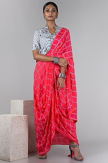 Powder Blue & Coral Pre-Draped Saree Set by Nupur Kanoi